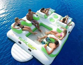 Cina Durable Inflatable Water Sport Inflatable Island Floating Lounge With 6 Seats pabrik