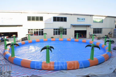 Commercial 15m Diameter Round Inflatable Water Swimming Pools With Palm Tree