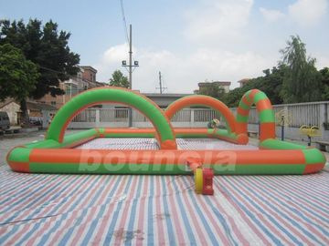 Cina 0.55mm PVC Tarpaulin Inflatable Zorb Ball Track For Snow Field Games pabrik