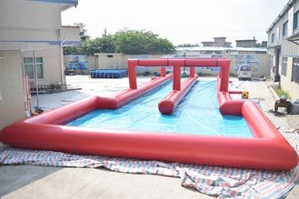 Cina 50m Inflatable Water Slide , Inflatable Long Slide For City Road pabrik