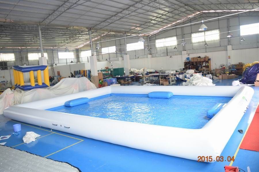 Outdoor Activity White Inflatable Water Pool With 0.9mm PVC Tarpaulin pemasok