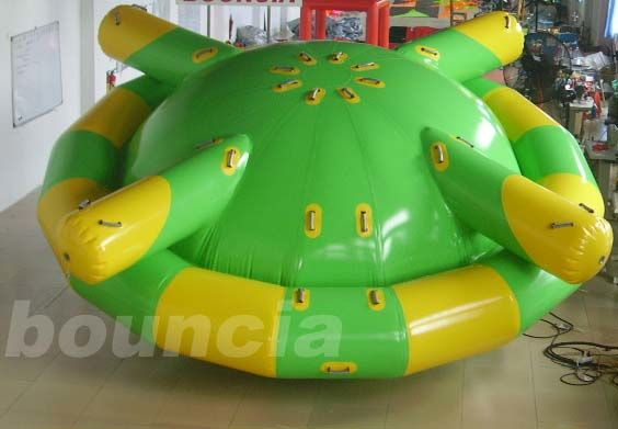 Double Layer PVC Fabric Inflatable Saturn Rocker / Inflatable Floating Spinner pemasok